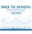 outline back to school banner with school bus vector image vector image