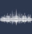 outline dubai skyline with city skyscrapers front vector image vector image