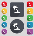 Palm Tree Travel trip icon sign A set of 12 vector image vector image