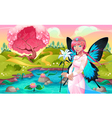 Portrait of a young fairy in a fantasy landscape vector image