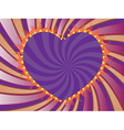 Purple rays background with heart vector image