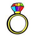ring with rainbow diamond icon icon cartoon vector image vector image