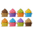 set assorted cupcakes vector image