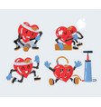 set heart characters vector image vector image