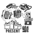 set of gift boxes with bows and ribbons in vector image vector image