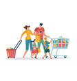 shopping family mom dad kids shop basket cart vector image
