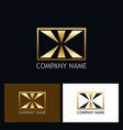 square letter x gold logo vector image