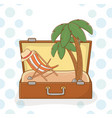 suitcase bag with beach scene vector image vector image