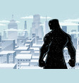superhero back city winter silhouette vector image vector image