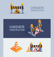 under construction web banners vector image vector image