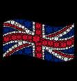 waving uk flag mosaic of life star items vector image