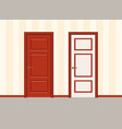 white and red door against a striped wall doors vector image