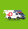 emergency ambulance car in flat style vector image