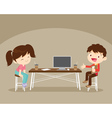 boy and girl sitting work table vector image