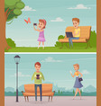 people with gadgets outdoor compositions vector image