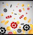 3d dollar gold coinsholdem poker chips falling in vector image vector image
