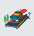3d fuel tanker truck isometric and detailed vector image
