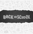 back to school supplies doodles set with lettering vector image vector image