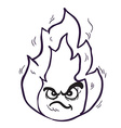 black and white angry freehand drawn cartoon fire vector image