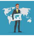 Businessman holding a map of the world Business vector image