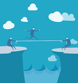 Businessmen Pulling together on a cliff vector image vector image