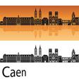 Caen skyline in orange background vector image vector image