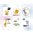 cards with african animals and quotes leon vector image vector image
