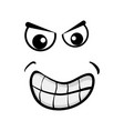 cartoon angry face isolated on white background vector image vector image
