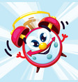 cartoon red alarm clock with a smile vector image