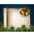 Christmas old paper background with fir twigs vector image vector image