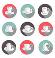 coffe cups icons set vector image
