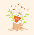 cute cartoon bunny sitting on the stump with heart vector image vector image