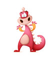 cute funny crazy cartoon character dinosaur vector image