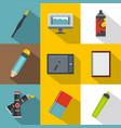 designer equipment icon set flat style vector image vector image