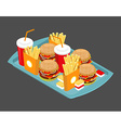 Fast food big set Many meal on tray Frying vector image vector image