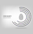 fingerprint on digital binary code background vector image vector image