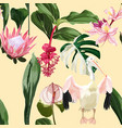 floral seamless pattern exotic tropical flowers vector image vector image