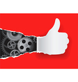 Gesturing paper hand with gear vector image