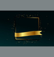 golden frame and ribbon background with text space vector image