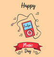 greeting card of music day celebration vector image vector image
