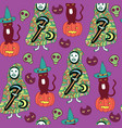 halloween seamless pattern with cat pumpkin vector image