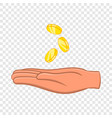 hand and falling coins icon cartoon style vector image