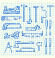 hand drawn carpentry elements set on blue vector image