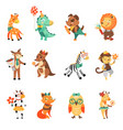 happy birthday nice animal collection vector image vector image