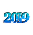happy new year card blue 3d number 2019 with vector image vector image