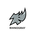 head rhino logo with gray color element for the vector image