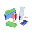 isometric finance concept vector image vector image