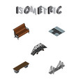 isometric urban set of sitting bench bridge and vector image vector image