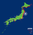 Japan earthquake map vector image vector image