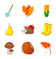 leaf fall icons set cartoon style vector image vector image